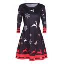 Stylish Snow Deer Patterned Round Neck Long Sleeve A-line Mini Dress