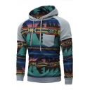New Stylish Tribal Print Drawstring Hood Raglan Sleeve Leisure Hoodie