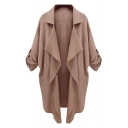 Simple Notched Lapel Collar Long Sleeve Coat with Double Pockets