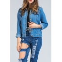 New Collared Long Sleeve Floral Embroidered Denim Jacket