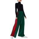 New Fashion Color Block Striped Side Elastic Waist Wide Leg Velvet Pants