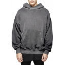 New Simple Long Sleeve Pocket Front Pullover Hoodie