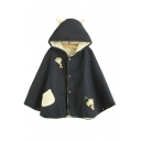 New Fashion Color Block Patchwork Dolls Embellished Buttons Down Ears Hooded Cape