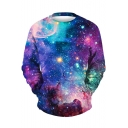 Leisure Galaxy Print Round Neck Long Sleeve Pullover Sweatshirt