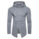 New Stylish Zipper Split Front Long Sleeve Simple Plain Hoodie