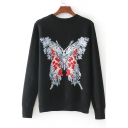 New Stylish Butterfly Print Round Neck Long Sleeve Pullover Sweatshirt