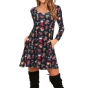 New Christmas Patterned Round Neck Long Sleeve Dress