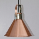 Industrial Pendant Light with 10.63''W Cone Shade in Copper Finish