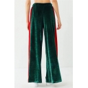 New Stylish Color Block Print Elastic Waist Leisure Wide Leg Pants