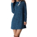 Simple Plain Buttons Embellished Long Sleeve Shift Mini Dress