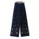 Fashion Embroidered Pattern Elastic Waist Wide Leg Pants