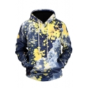 Splash-Ink Printed Long Sleeve Pullover Hoodie with Kangaroo Pocket