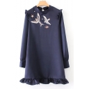 Chic Bird Embroidered Ruffle Hem Long Sleeve Shift Mini Dress