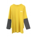 New Stylish Letter Print Striped Long Sleeve Round Neck Tunic Tee