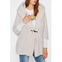 Chic Simple Plain Single Button Hooded Long Sleeve Wool Coat