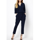 Women's Fashion Simple Plain Sexy V-Neck Bow Front Jumpsuit