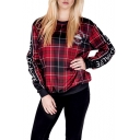 Trendy Round Neck Long Sleeves Tartan Plaids UFO Letter Pattern Pullover Sweatshirt