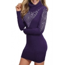 New Stylish Diamante Pattern Turtleneck Long Sleeve Mini Dress