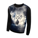 Fashion 3D Deer Print Long Sleeve Round Neck Pullover Sweatshirt
