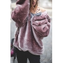 Simple Plain Long Sleeves Faux Fur Fluffy Loose Pullover Hoodie with Zipper