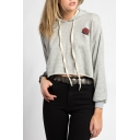Simple Rose Printed Long Sleeves Pullover Cropped Hoodie with Raw Edges