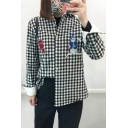 Snowman Embroidered Plaid Lapel Long Sleeve Buttons Down Shirt