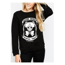 Cool Round Neck Long Sleeves Skull Letter Printed Pullover Sweatshirt