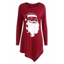 Leisure Round Neck Long Sleeves Christmas Santa Pattern Asymmetric Hem T-Shirt Mini Dress