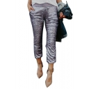 New Fashion Shimmering Sequined Elastic Waist Pencil Capris