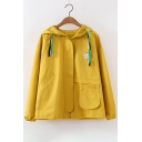 New Stylish Embroidered Pattern Long Sleeve Zipper Hooded Coat