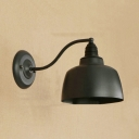 Industrial Wall Sconce with 8.27''W Metal Shade, Black