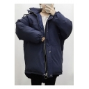 Simple Plain Oversize Hooded Zip Up Long Sleeve Coat
