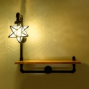 Industrial 28.74''W Wall Sconce with Glass Shade and Wooden Shelf, Black