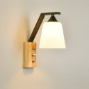 Industrial Wall Sconce with Wooden Lamp Base and Glass Shade, Black/White