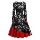 Chic Color Block Floral Round Neck Long Sleeve Fit & Flare Midi Dress
