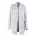Fashionable Long Sleeve Open Front Simple Plain Tunic Cardigan