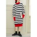 Fashion Striped Print Long Sleeve Round Neck Knitted Dress