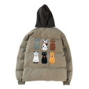 Trendy Cat Cartoon Pattern Long Sleeves Color Block Zippered Hooded Quilted Coat with Pockets