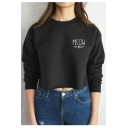 Simple Letter Meow Pattern Round Neck Long Sleeves Pullover Cropped Sweatshirt