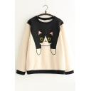 Cute Cartoon Cat Print Round Neck Long Sleeve Pullover Sweatshirt