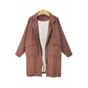 Simple Plain Zipper Long Sleeve Lapel Tunic Windproof Coat with Flap Pocket