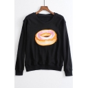 Causal Embroidery Doughnut Pattern Round Neck Long Sleeve Pullover Sweatshirt