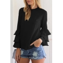 Chic Simple Plain Round Neck Ruffle Hem Long Sleeve Blouse