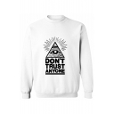 Letter Graphic Print Round Neck Long Sleeve Pullvoer Sweatshirt