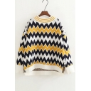 Retro Chevron Pattern Long Sleeve High Low Hem Loose Pullover Sweater