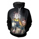 Stylish Cartoon Chemical Experiment Beaker Pattern Long Sleeves Pullover Hoodie with Pocket