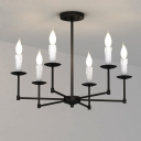 Industrial Vintage 6 Light Chandelier in Candle Style, Black