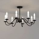 Industrial 8-Light Chandelier with Gooseneck Fixture Arm in Vintage Style