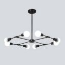 Industrial 8-Light Chandelier in Bare Bulb Style, Black