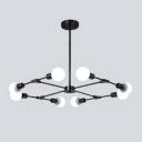 Industrial 8-Light Chandelier in Bare Bulb Style, Black